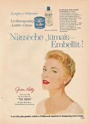 1956 GRACE KELLY for LUSTRE SHAMPOOING ORIGINAL AD IN FRENCH