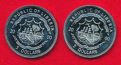 Liberia 2000 5 DOLLARS (2 Coins)  Copper-Nickel