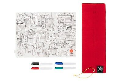 Prince Lionheart Colour and Draw Reusable Silicone Placemat with Markers and