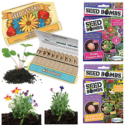 Shade Flower, butterfly and bird Seed Bombs Pack Of 6 or Seed Sticks pk10