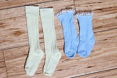 EUC Vintage Girls Socks Yellow Knee Highs & Blue Lace Fold Down Pair  Size 4