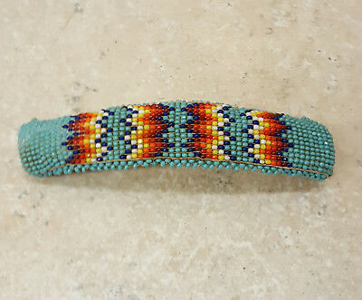 Old Hand Crafted Cut Beaded Geometric Design Native American Indian Barrette