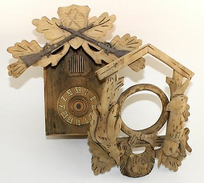 VINTAGE  CUCKOO CLOCK CASE with GUNS and no DEER - PARTS!   SM146
