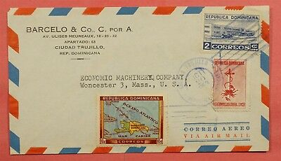1953 Dominican Airmail Cover To Usa With Back Info Sugar Trade War