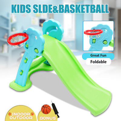 Toddler Kids Foldable Slide Play Activity Slide Basketball Playground Indoor NEW