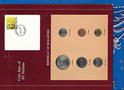 Coin Sets of All Nations Singapore 1982-1988 UNC $1, 1 Cent 1982 5 cent 1988