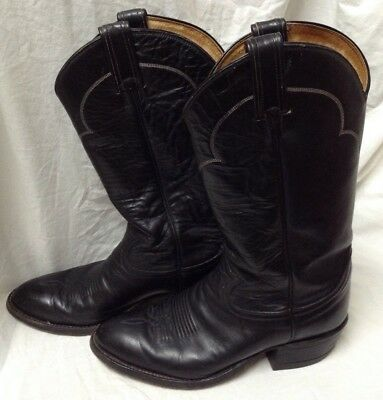 3c4fec3998d TONY LAMA BLACK Leather Western Cowboy Boots Size 7 D Style H 9707 Made in  USA