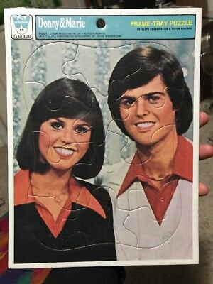 New Donny and Marie Head Shot Frame Tray Puzzle, Whitman, 1977