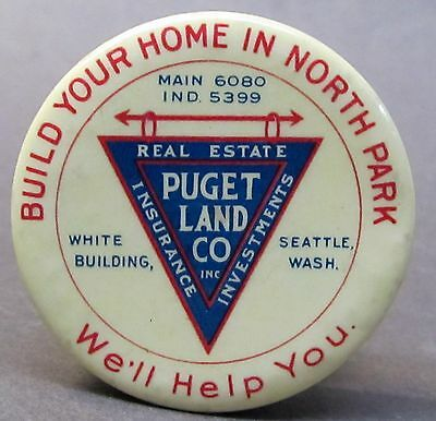 1920's PUGET LAND CO. Seattle WASHINGTON advertising celluloid tape measure *