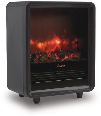 Mini Fireplace Heater 1500-Watt Dial Control in Black with Automatic Shutoff