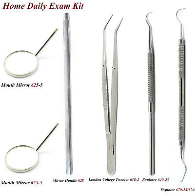 Dental Examination Kit Hygienist Plaque Remover Teeth Cleaning Explorers Mirror