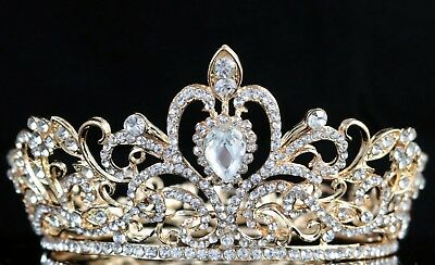 5.5cm High Crystal Rhinestone 4 Women Girl Hair Tiara Crown Party Prom Wed Gold