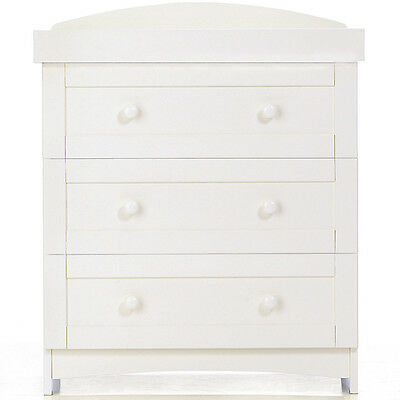 East Coast Nursery 3 Drawer Dresser in White, Nursery Furniture & Changing Top
