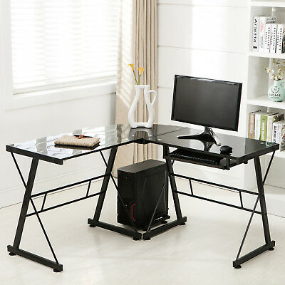 Black L-Shape Glass Corner Computer Desk Laptop PC Table Workstation Home Office