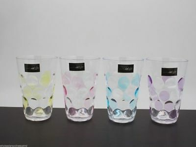 12 x Dimple Tumblers 350ml Pink Purple Yellow Blue Funky Wholesale Bulk Lot