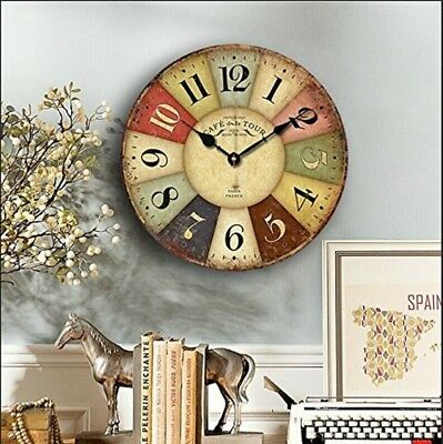 wall clocks for kitchen wooden Chic Retro Style Non-Ticking Vintage French style
