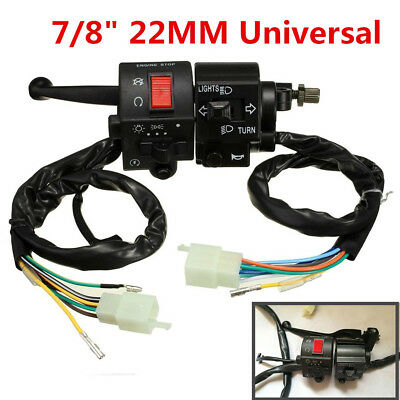 "DC 12V Motorcycle 7/8"" Handlebar Horn Turn Signals Electrical Start Switch"