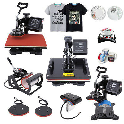 12X15 5In1 Digital Heat Press Machine Sublimation T-Shirt/Mug/Plate Hat Printer