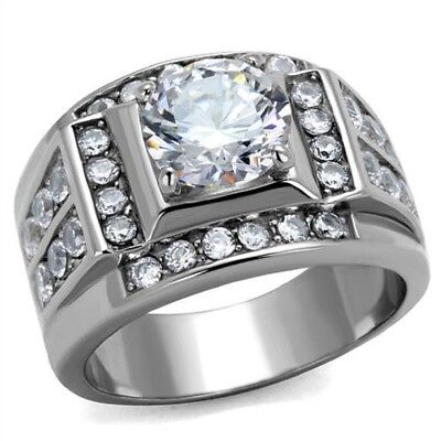 Stainless Steel Mens AAA Cubic Zirconia Wedding  Ring-Sizes 8-13 Father's Day