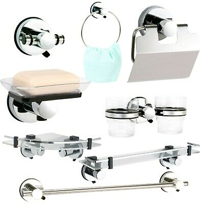 """Super Suction """"Axis"""" Chrome / Black Bathroom Wall Accessories 