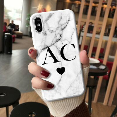 Personalised Marble Phone Case Cover for Apple iPhone Initial Text Name 019-9