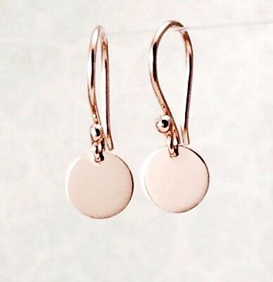 Solid 9ct 9k Rose / Pink Gold  6.5mm Drop Disc Earrings Polished Finish