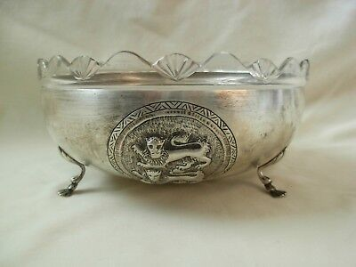 Vintage 900 Silver Greek Center Piece W/ Glass Liner- Embossed With  Lions