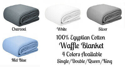 Premium 350GSM 100% Egyptian Cotton Waffle Blanket Single Double Queen King Size