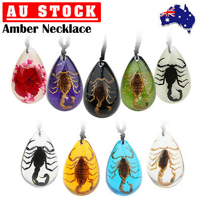 Amber Fossilized Golden Scorpion Insect Men's Women's Black Blue Yellow Necklace