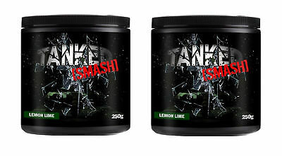 Tanked Smash Pre Workout 50 Servs Nitric Oxide Muscle Pump x 2 Tubs Lemon & Lime