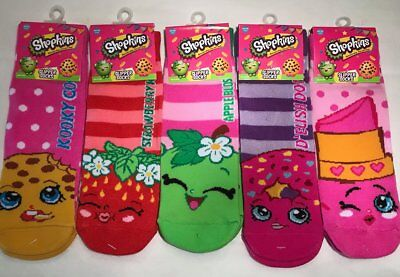 Girls Shopkins Slipper Gripper Socks 5 Pair Assorted Sock Size 6-8.5 Shoe Sz 7-3