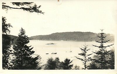 Real Photo 1937 South Brooksville Maine Boats Seal Harbor  ME Postcard