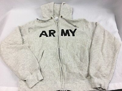 Vtg ARMY Physical Fitness Uniform Issued Hoodie Sweatshirt  Heather Zip Up L