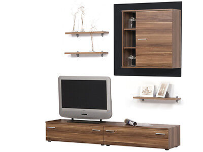 wohnwand anbauwand mediawand 250cm satin nussbaum. Black Bedroom Furniture Sets. Home Design Ideas