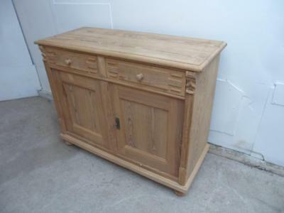 A Really Heavy Carved Antique/Old Pine 2 Door 2 Drawer Dresser Base to Wax/Paint