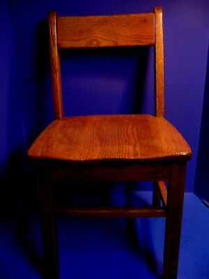 "Antique Vintage Wooden Child's Chair 24 1/2"" Chair Solid Oak School Chair"