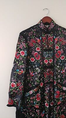 Vintage Chinese Plum Blossom Heavily Hand Embroidered Black Bird Kimono Robe 40