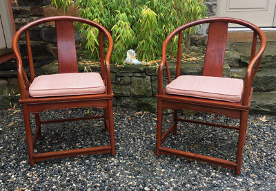 Vintage pr of Chinese Ming style horse shoe back chairs with seat cushions c1960