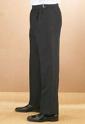 Men's Black 100% Wool Pleated Tuxedo pants adjustable waist size 37