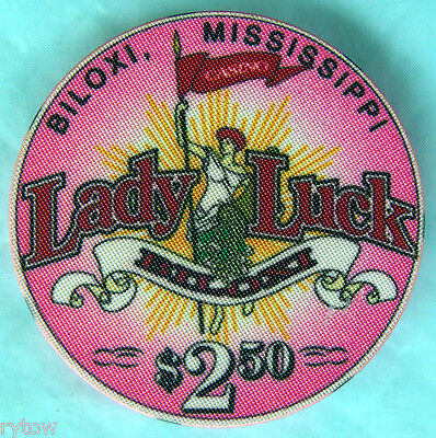 "Obsolete ~ Lady Luck ~ Biloxi, Mississippi ~ $2.50 ""snapper"" Chip"