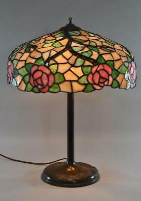 """Chicago Mosaic Leaded Glass&Brass Table Lamp Rose Vine Pattern Three Sockets 18"""""""