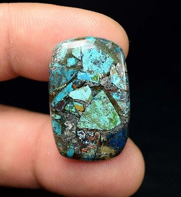Beautiful ! 18.25 Cts. Natural  Silver  Azurite Cushion Cab For Silver Pendant