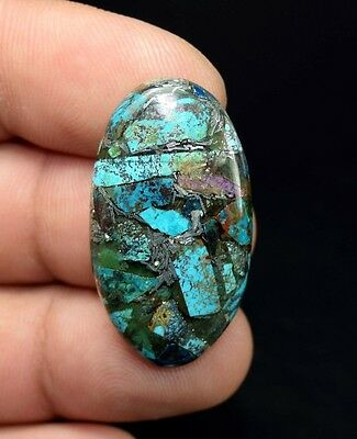 Beautiful ! 21.25  Cts. Natural  Silver  Azurite Oval Cab For Silver Pendant