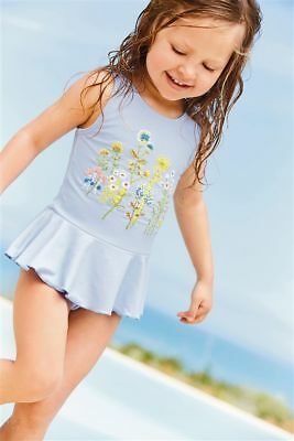 NEXT Baby Girls Blue Embroidered Swimsuit - BNWT
