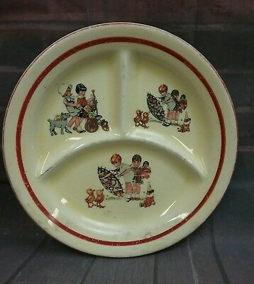 "Vintage Child's 7.25"" Divided Ceramic Plate, Crown Potteries 1920's-30's"