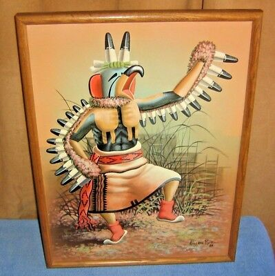Navajo Holden Nez Eagle Dancer Large Acrylic Painting Original Southwestern