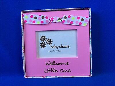 Baby Cheers Pink Easel Photo Frame w/Bow for 3x5 Baby Girl Photo ~ NIB