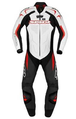 Spidi Supersport Wind Pro Leather Motorcycle Waterproof Suit - Black/White/Red
