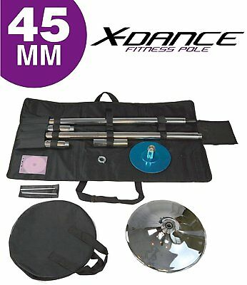 X-Dance 45mm Portable Spinning Dancing Pole Fitness Exercise with Carry Case