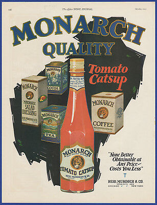 Vintage 1923 MONARCH Foods Catsup Tea Coffee Kitchen Art Decor Print Ad 1920's